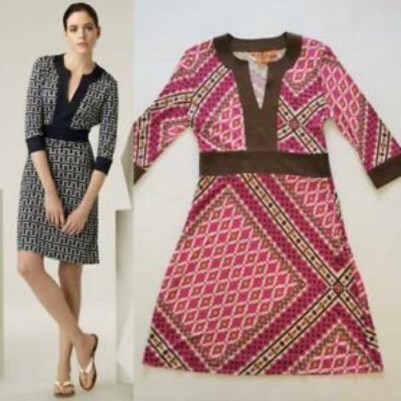Tory Burch Dresses & Skirts - Tory Burch Dress Stretch Silk Agatha Brown Printed